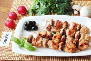 Мини — шашлычок с  шампиньонами и куриным филе